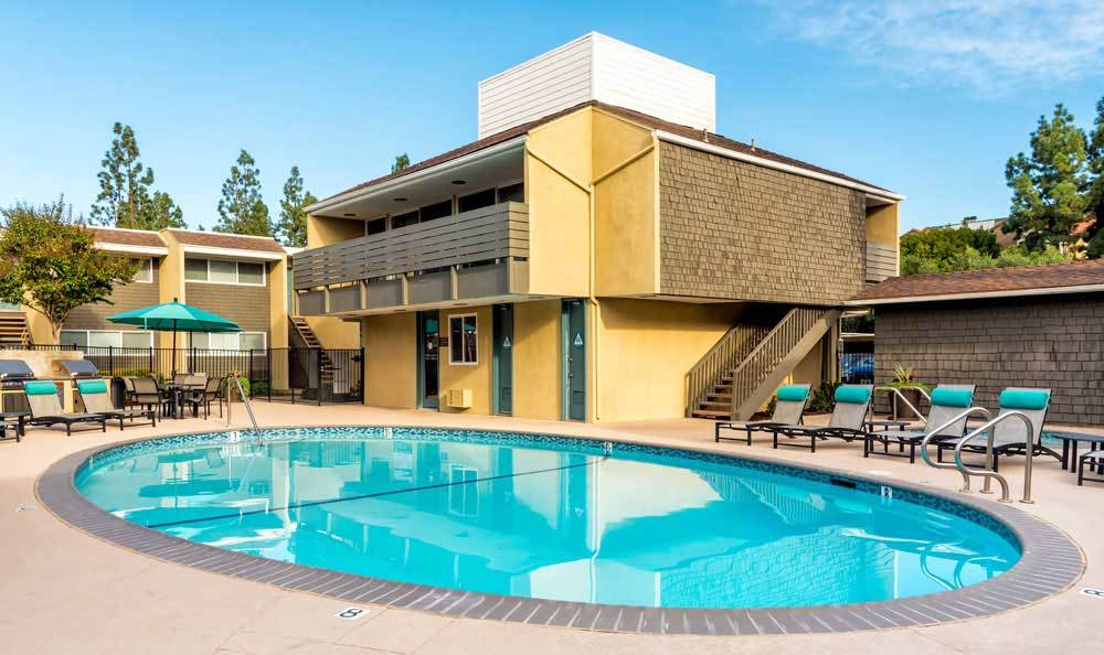 outdoor swimming pool At Vue at Lake Murray In San Diego CA