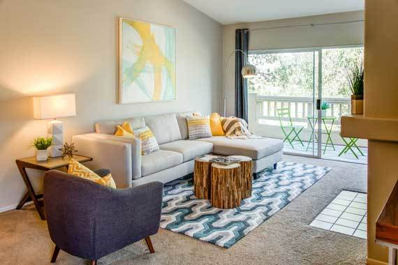 Modern living room at apartments in San Diego, CA