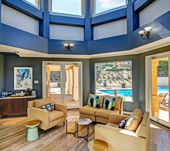 Luxury living room at Sofi Canyon Hills in San Diego, CA