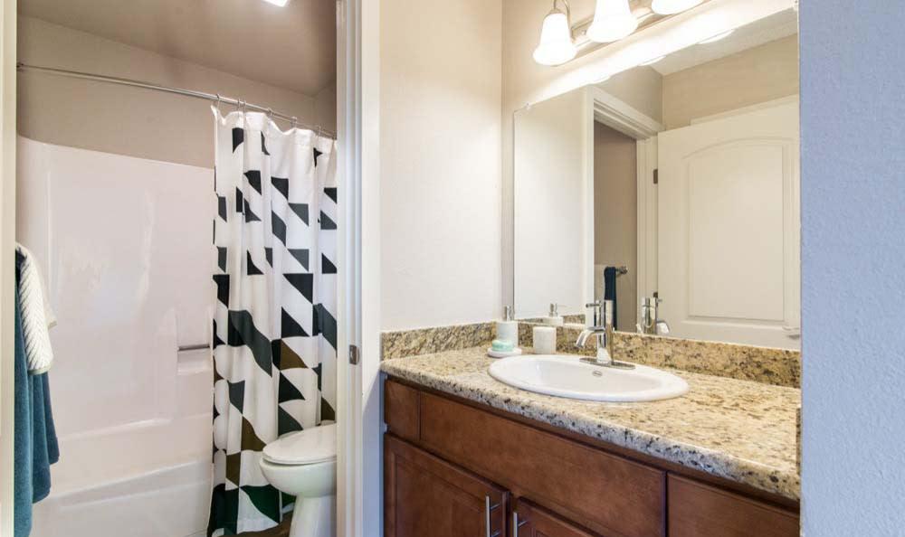 Bathroom at apartments Verse in San Diego, CA