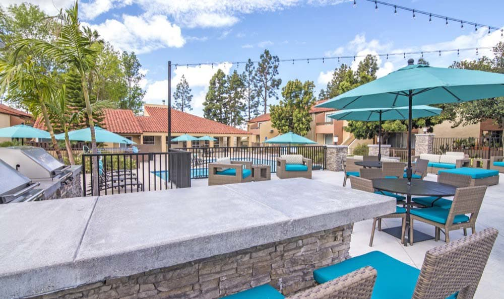 Barbecue Area Near Pool at apartments Verse in San Diego, CA