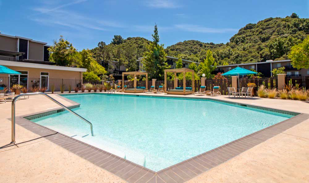 Spacious swimming pool at Sofi Belmont Hills in Belmont, CA