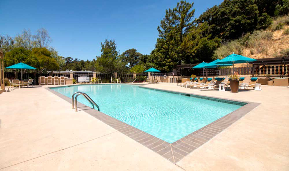 Beautiful swimming pool at Sofi Belmont Hills in Belmont, CA
