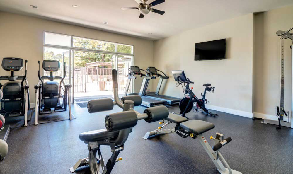 Beautiful fitness center at Sofi Belmont Hills in Belmont, CA