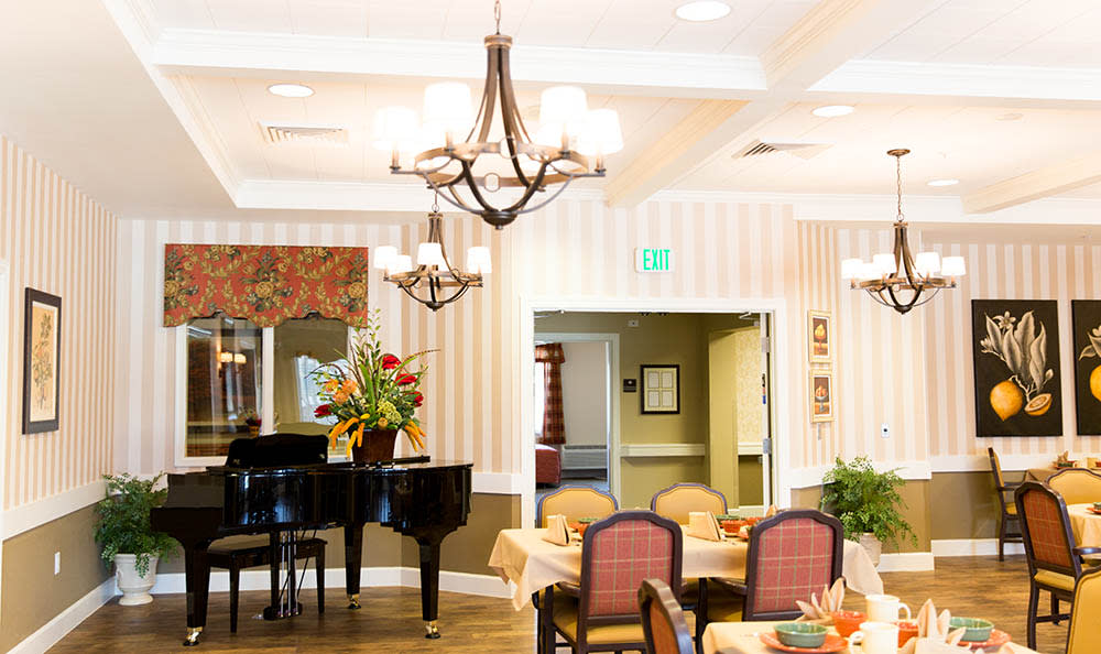 Piano In Dining Area at Pheasant Run Alzheimer's Special Care Center