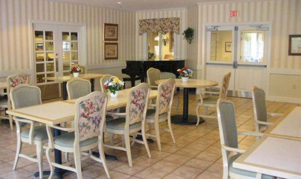 Dining tables at Brookstone Alzheimer's Special Care Center