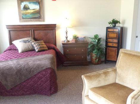 bedroom with wonderful view at Grand View Alzheimer's Special Care Center in Peoria, IL