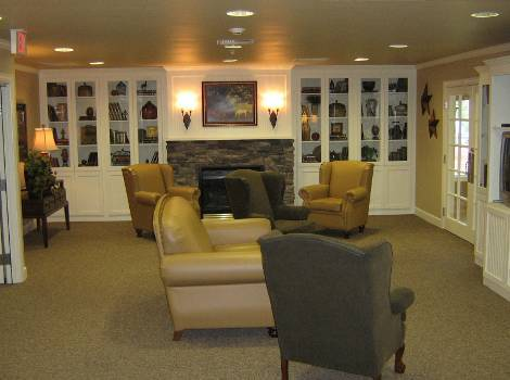 beautiful living room at Hudson Creek Alzheimer's Special Care Center in Bryan, TX