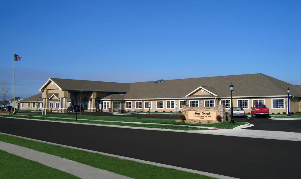 building front view at Mill Creek Alzheimer's Special Care Center in Springfield, IL