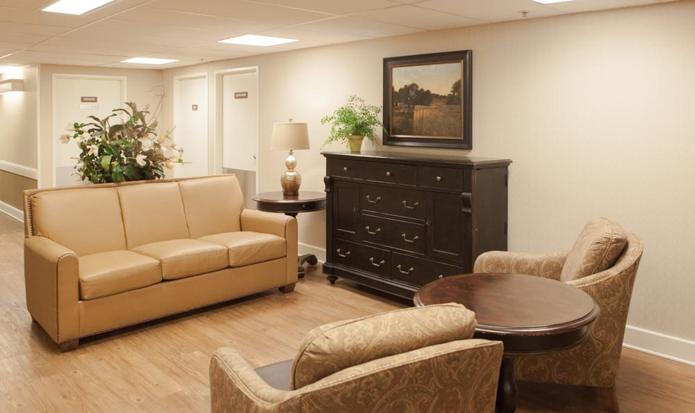 Common space for socializing at Olympics West Retirement Inn
