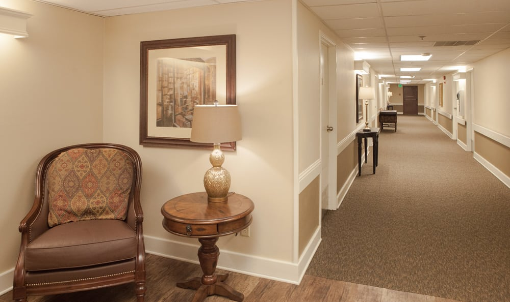 Hallway at senior living in Olympics West Retirement Inn