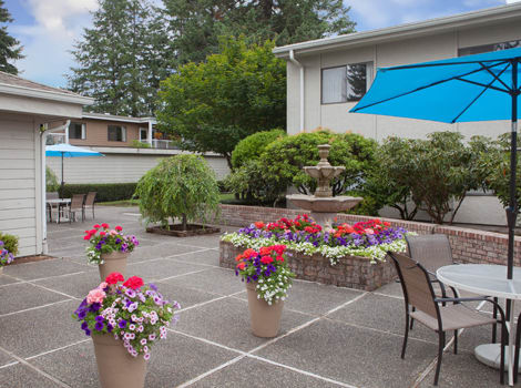 Patio at senior living in Tumwater