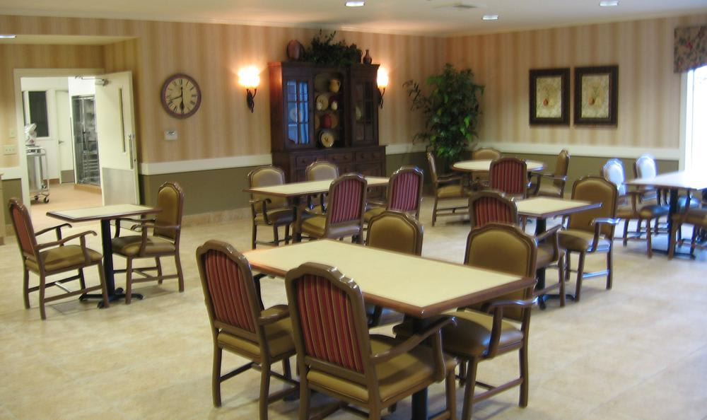 dining hall at Pine Ridge Alzheimer's Special Care Center in Spokane Valley, WA
