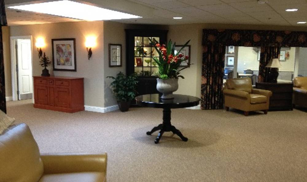 Well decored lounge in our installations at Arbor Trace Alzheimer's Special Care Center