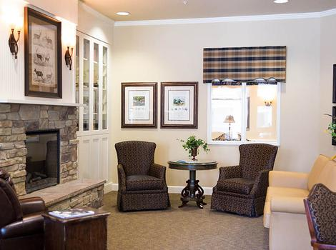 Fireplace Lounge for residents of Cardinal Court Alzheimer's Special Care Center to relax at
