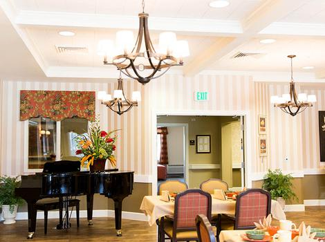 Piano In Dining Area at Marshall Pines Alzheimer's Special Care Center