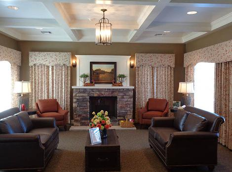Cosy Fireside Lounge At The Springs of Vernon Hills Alzheimer's Special Care Center