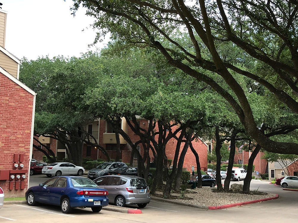 A view of the parking area and apartments in Austin TX
