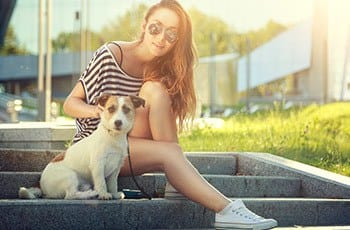 Girl with dog in Austin, TX