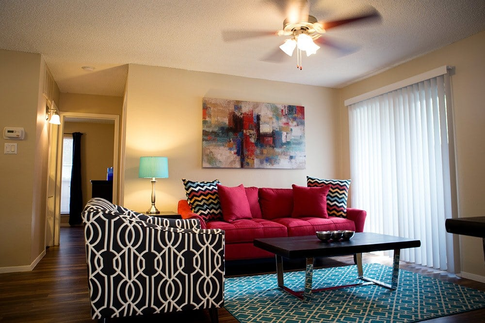 Apartment living room at Bridge at Southpoint Village