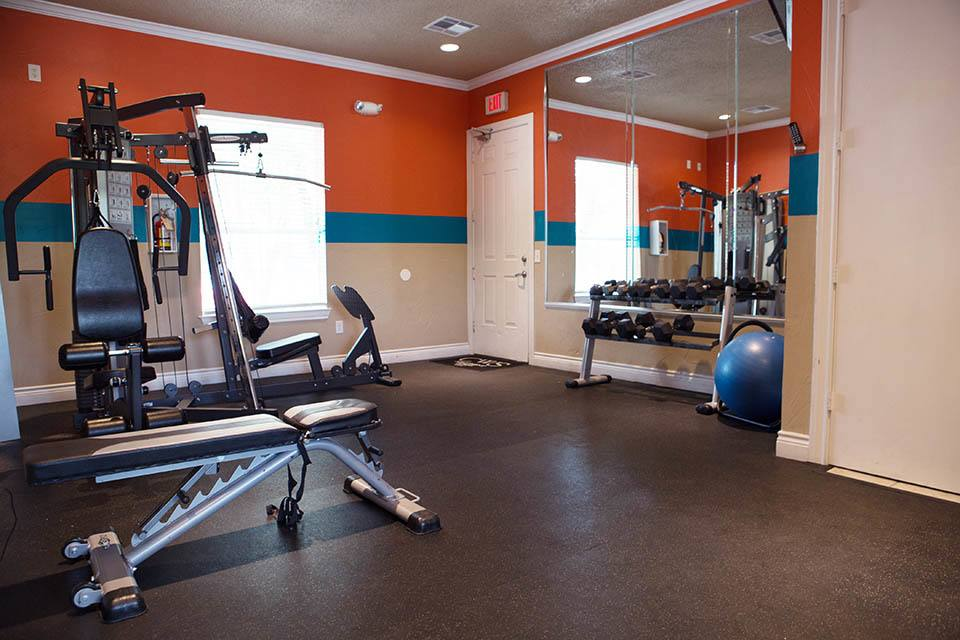 A view of the fitness center at apartments in Austin