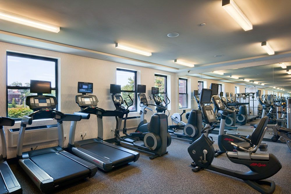 The fitness center at our Morristown apartment community features a commercial quality fitness center