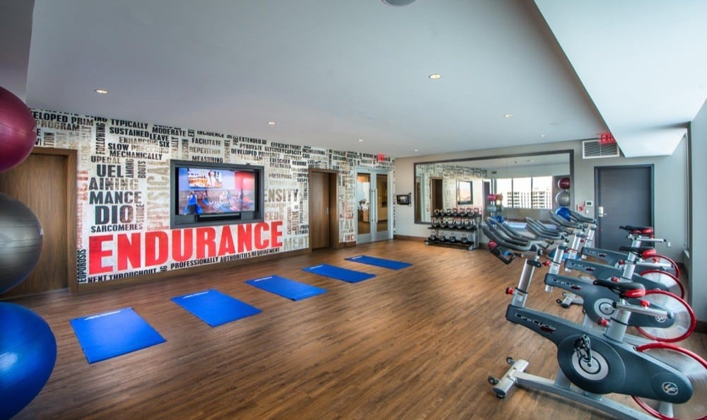 Get fit in our yoga studio with fitness on demand