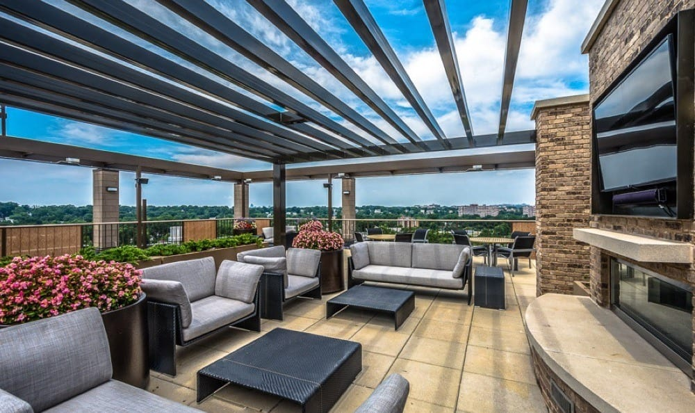 Rooftop sky deck with flat screen TV's