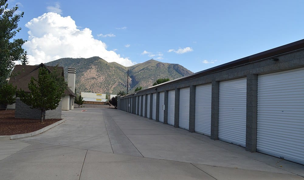 Another view of our extra-wide aisles at our self storage facility on a beautiful day in Flagstaff.