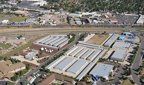 Aerial view of our expansive self storage facility at Armour Self Storage in Flagstaff.