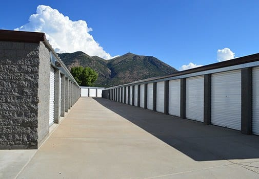 View of our extra-wide aisles at Armour Self Storage on another beautiful day!