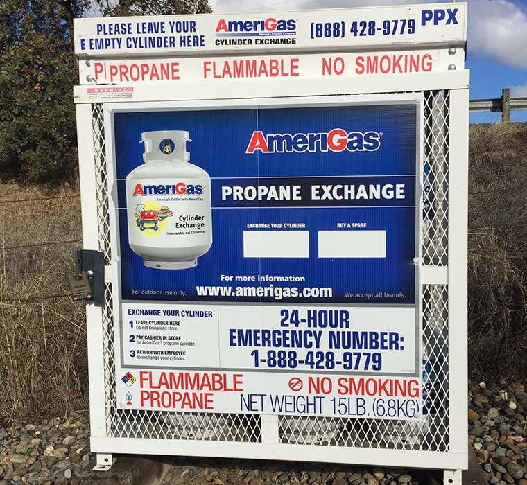 Propane refill at the self storage facility in Sacramento