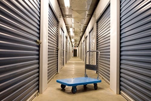 View of the hallway of our inside storage units here at Moody Road Storage