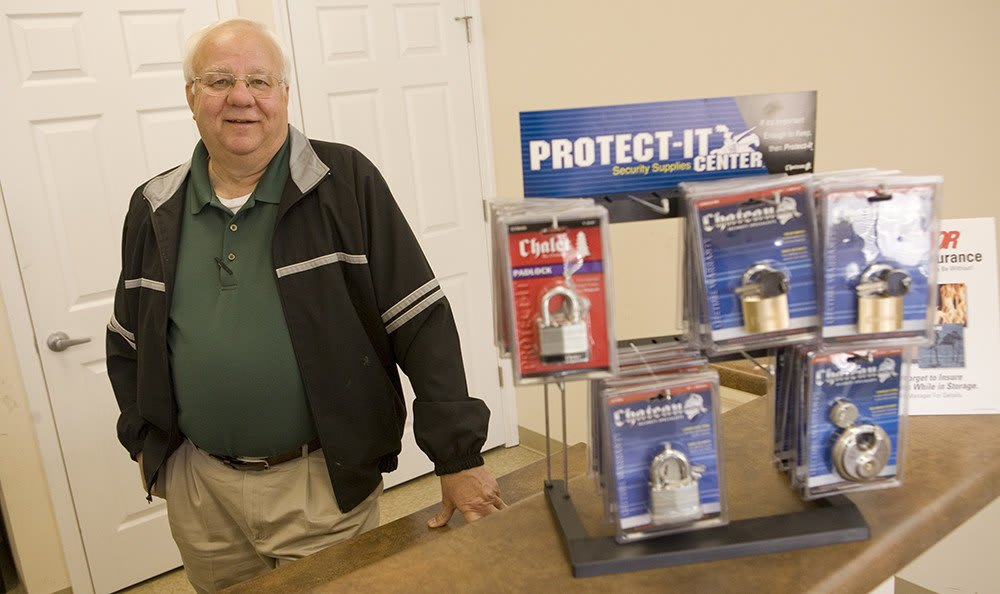 Our Manager keeps tabs on things here at Moody Road Storage to help keep your belonging safe.