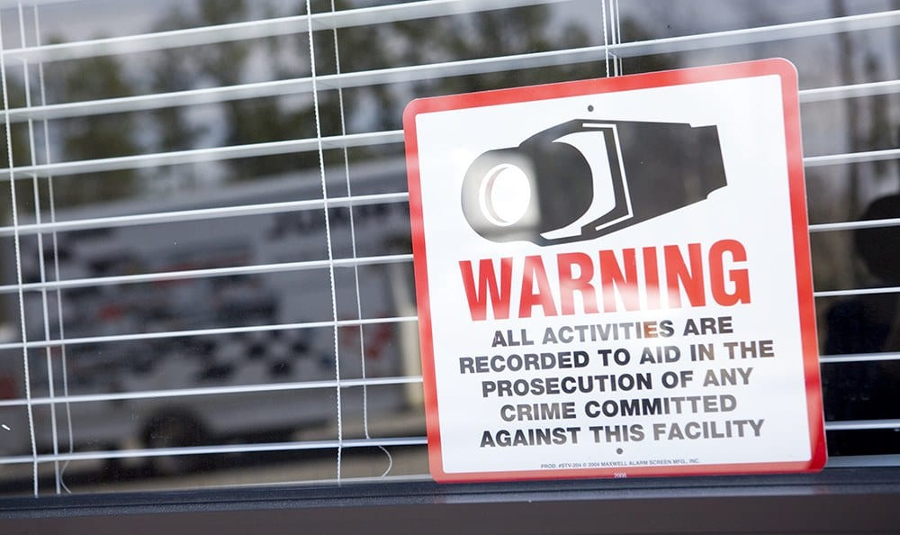 Our signs warn potential thieves that Moody Road Storage is protected by cameras, recording activity 24-hours a day.
