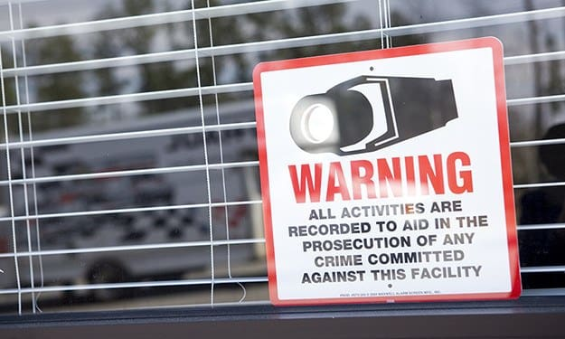 Our signs warn potential thieves that South Port Storage is protected by cameras, recording activity 24-hours a day.