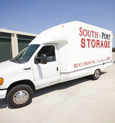 New storage customers enjoy free use of our moving truck upon initial move-in here at South Port Storage