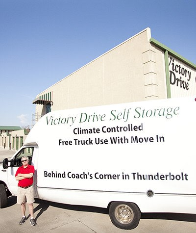 Free use of our moving truck upon initial move-in at Victory Drive Self Storage