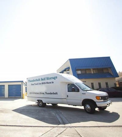New storage customers enjoy free use of our moving truck upon initial move-in here at Thunderbolt Self Storage
