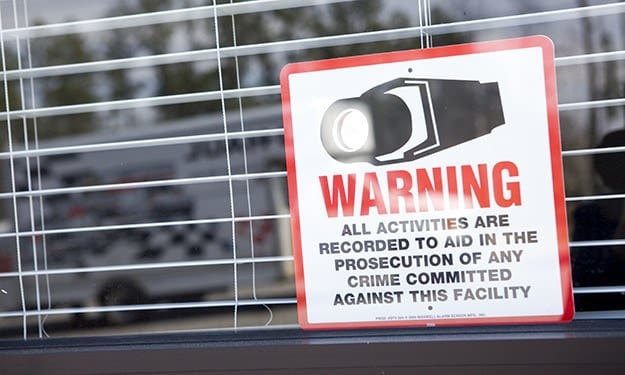 Our signs warn potential thieves that Thunderbolt Self Storage is protected by cameras, recording activity 24-hours a day.