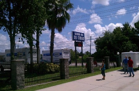 Trucks for rent at Clearwater self storage in Florida