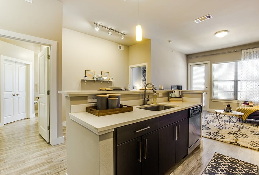 The kitchen opens up to the living room at Maple District Lofts in Dallas, TX.