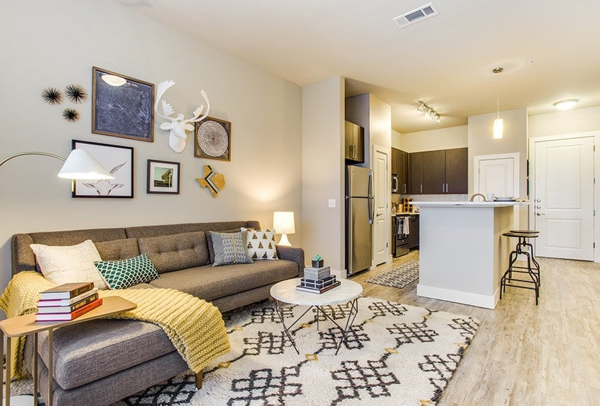 Apartment Living Room at Maple District Lofts in Dallas, TX.