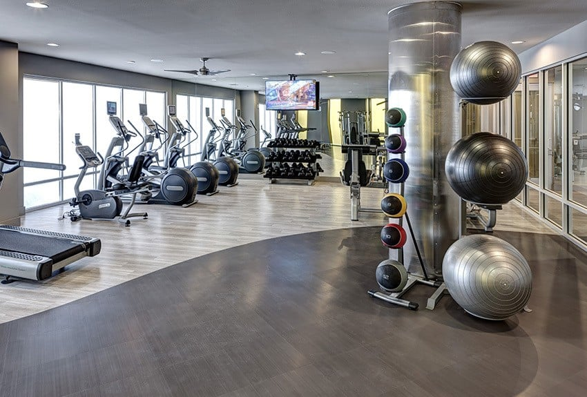 The Fitness Center at Maple District Lofts in Dallas, TX, is fully equipped.