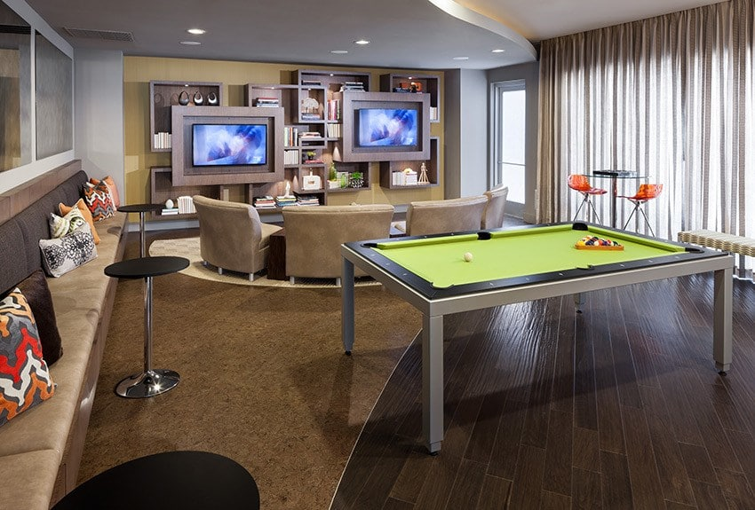 You'll find all kinds of games to keep you and your friends busy in the clubhouse at Maple District Lofts in Dallas, TX.