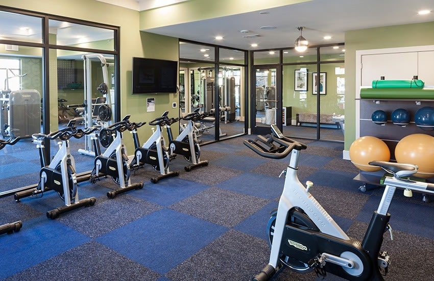 Looking for a gym? At Axis 3700, our on-site fitness center has everything you need to work off the stresses of the day.