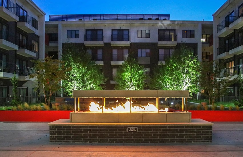 The outdoor fire pit at Axis 3700 is a terrific place to share a drink with your neighbors in the evening.