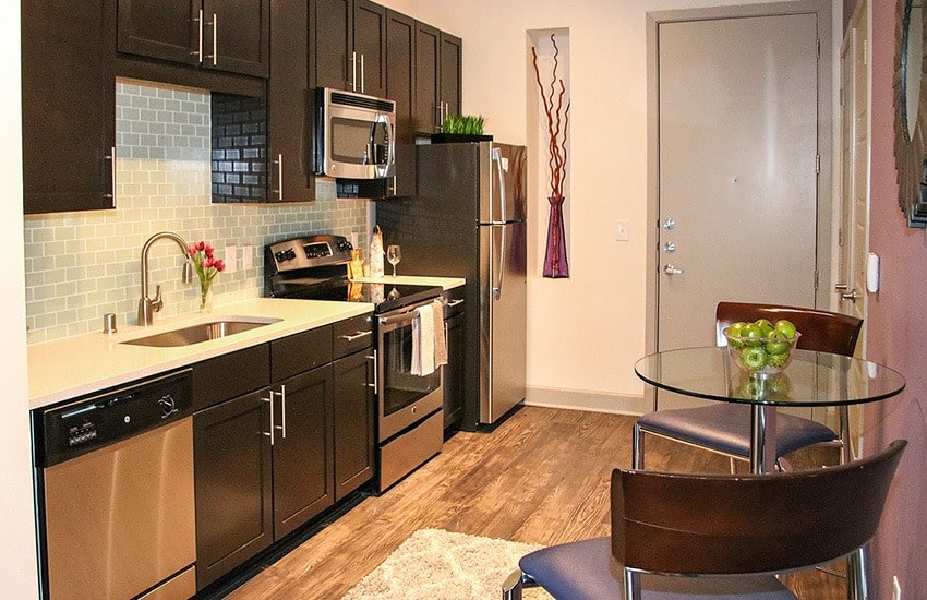Cooking for friends and family in the modern kitchen of your new apartment home at Axis 3700 is a genuine pleasure.