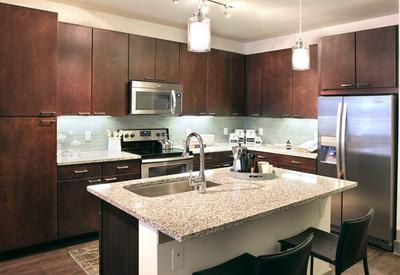 Model kitchen at Axis at The Rim