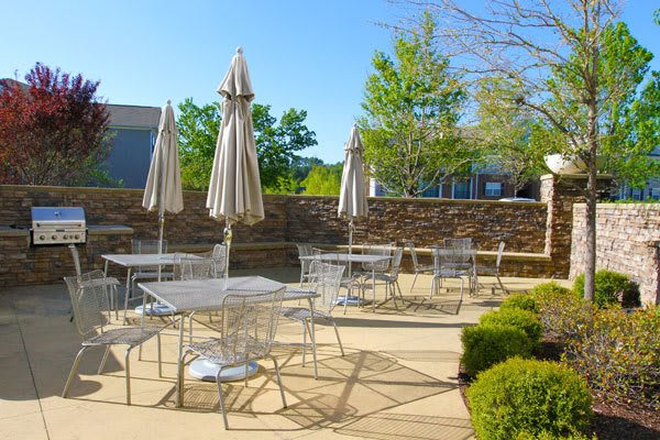 Barbecue area at apartments for rent at Manor Six Forks in Raleigh, NC